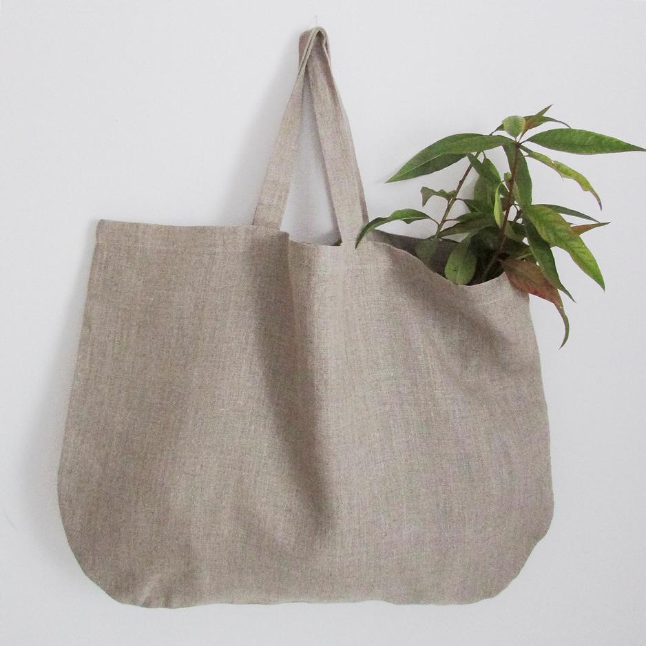 Velika plosnata lanena torba ; vrećica - natur