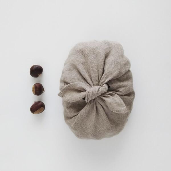 Kesteni, origami vrećica, lan