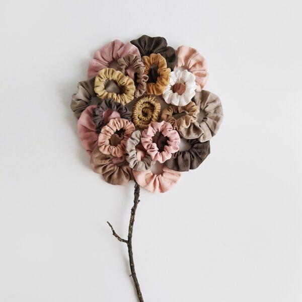Scrunchie, platnena gumica za kosu - lan/prirodno obojeno